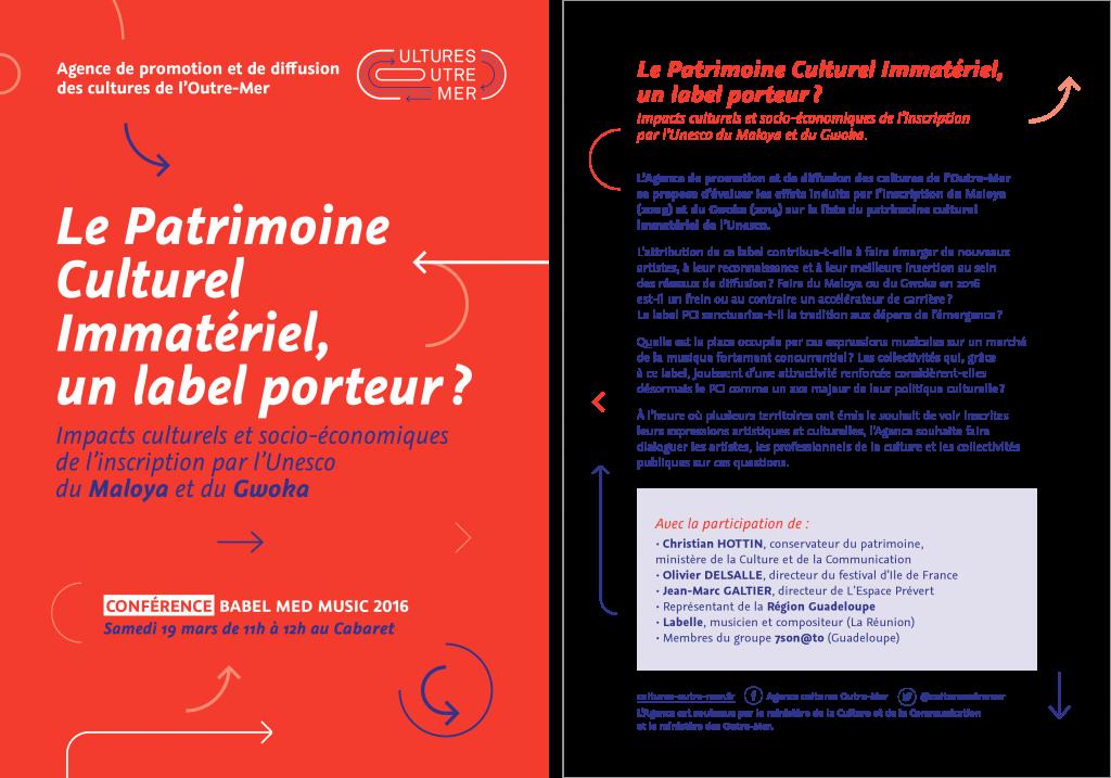 Flyer pour annoncer la conférence de l'Agence lors du Babel Med Music à Marseille en mars 2016.